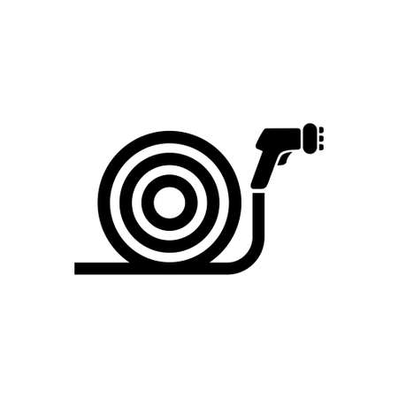 Garden Water Hose with Spray Gun Sprinkler. Flat Vector Icon illustration. Simple black symbol on white background. Garden Water Hose with Spray Gun sign design template for web and mobile UI element