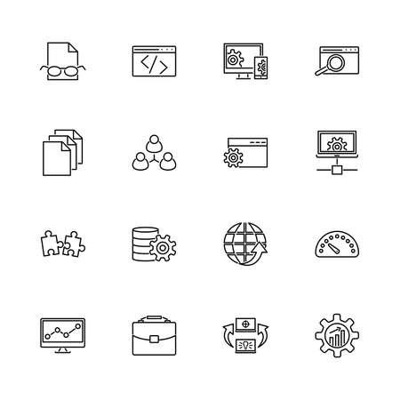 Web Development, Programming outline icons set - Black symbol on white background. Web Development Simple Illustration Symbol - lined simplicity Sign. Flat Vector thin line Icon - editable stroke
