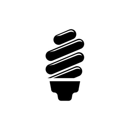 Fluorescent Lamp, Ecological Light Bulb. Flat Vector Icon illustration. Simple black symbol on white background. Fluorescent Lamp, Eco Light Bulb sign design template for web and mobile UI element Illustration