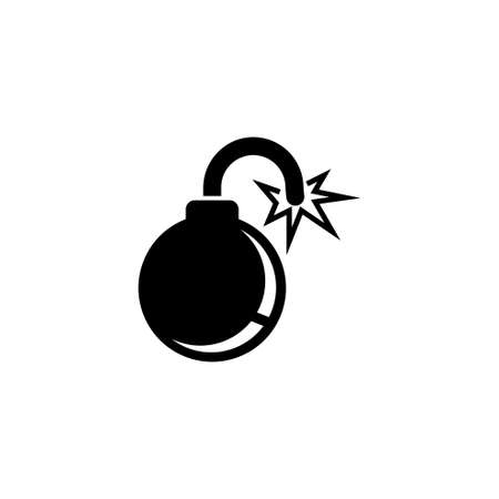 Fire Bomb, Explosive Military Weapon. Flat Vector Icon illustration. Simple black symbol on white background. Fire Bomb, Explosive Military Weapon sign design template for web and mobile UI element