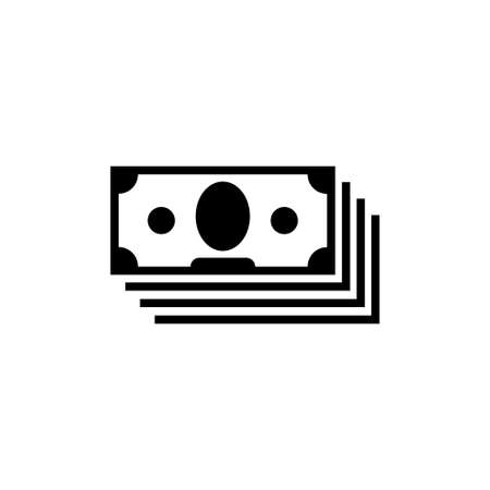 Money Cash, Stacked Banknote, Currency, Finance. Flat Vector Icon illustration. Simple black symbol on white background. Money Cash, Stacked Banknote sign design template for web and mobile UI element