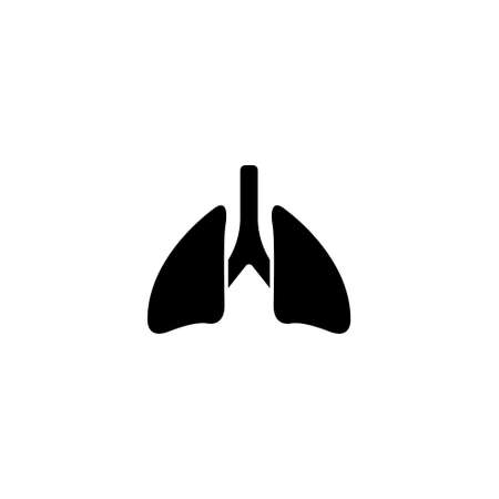 Lungs, Respiratory System, Human Organ. Flat Vector Icon illustration. Simple black symbol on white background. Lungs, Respiratory System Human Organ sign design template for web and mobile UI element Çizim