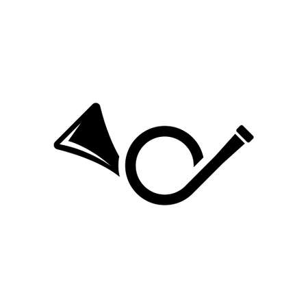 Post Horn, Music Brass Instrument, Trumpet. Flat Vector Icon illustration. Simple black symbol on white background. Post Horn, Music Brass Instrument sign design template for web and mobile UI element