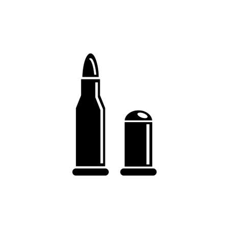 Pistol and Rifle Bullets, Gun Ammunition. Flat Vector Icon illustration. Simple black symbol on white background. Gun and Rifle Bullets, Ammunition sign design template for web and mobile UI element