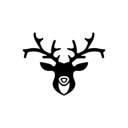 Horned Deer Head Silhouette, Reindeer. Flat Vector Icon illustration. Simple black symbol on white background. Horned Deer Head Silhouette, Reindeer sign design template for web and mobile UI element Çizim