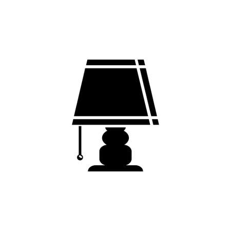 Bedside Table Lamp, Desk Night Light. Flat Vector Icon illustration. Simple black symbol on white background. Bedside Table Lamp, Desk Night Light sign design template for web and mobile UI element