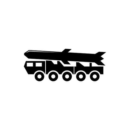 Ballistic Missile, Rocket Launcher Truck. Flat Vector Icon illustration. Simple black symbol on white background. Ballistic Missile, Rocket Launcher sign design template for web and mobile UI element