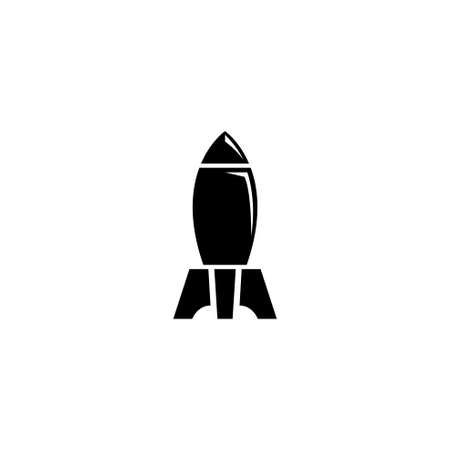 Nuclear Rocket Air Bomb, Atomic Bombshell. Flat Vector Icon illustration. Simple black symbol on white background. Nuclear Rocket Air Bomb, Bombshell sign design template for web and mobile UI element