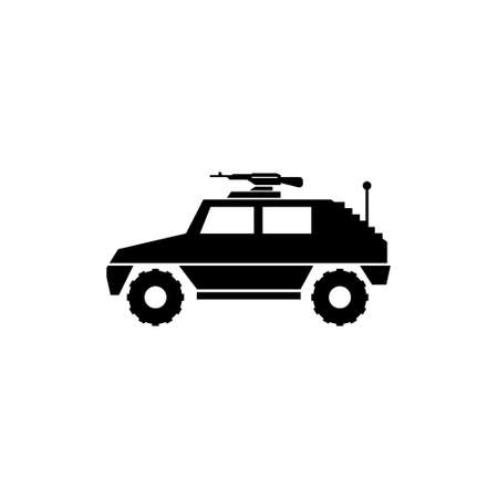 Military Vehicle Suv with Mounted Machine Gun. Flat Vector Icon illustration. Simple black symbol on white background. Military Vehicle Suv with Gun sign design template for web and mobile UI element