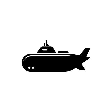 Nuclear Army Submarine, Deep Bathyscaphe. Flat Vector Icon illustration. Simple black symbol on white background. Nuclear Army Submarine, Bathyscaphe sign design template for web and mobile UI element