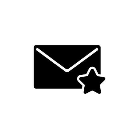 Favorite Mail, Envelope and Star. Flat Vector Icon illustration. Simple black symbol on white background. Favorite Mail, Envelope and Star Insect sign design template for web and mobile UI element Çizim