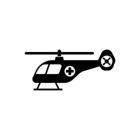 Emergency Helicopter, Medical Transport. Flat Vector Icon illustration. Simple black symbol on white background. Emergency Medical Helicopter Insect sign design template for web and mobile UI element