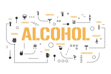 Alcohol word concepts banner. Different types of drinks. High grade beverage infographics. Presentation, website. UI UX idea. Isolated lettering typography with glyph icons. Vector flat illustration.