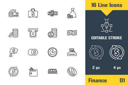 Business, Finance, Cash Icons set. Thin line icon - Outline flat vector illustration. Editable stroke pictogram.