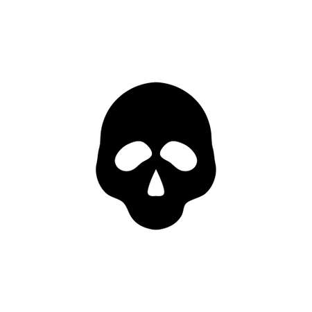Human Skull, Death or Dead Face, Skeleton. Flat Vector Icon illustration. Simple black symbol on white background. Human Skull, Death or Dead Face sign design template for web and mobile UI element