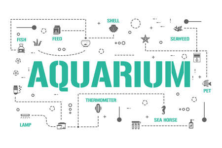 Aquarium word concepts banner. Shell, Fish, Coral and Seaweed. Marine Pet Care infographics. Presentation, website. UI UX idea. Isolated lettering typography with glyph icons. Vector flat illustration