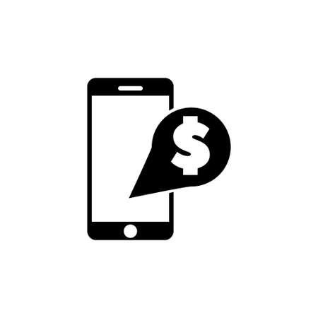 Mobile Banking, Payment with Smartphone. Flat Vector Icon illustration. Simple black symbol on white background. Mobile Banking, Payment Smartphone sign design template for web and mobile UI element
