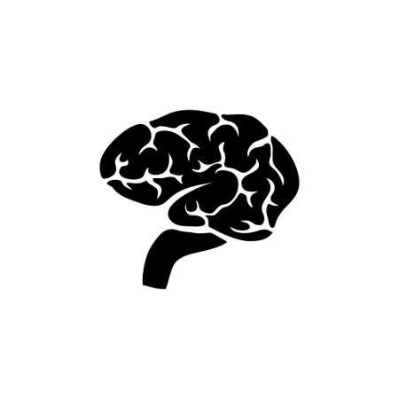 Gehirn, menschliches Geistesorgan, Anatomie, Intellekt. Flache Vektor-Icon-Darstellung. Einfaches schwarzes Symbol auf weißem Hintergrund. Gehirn, menschliches Geistesorgan, Anatomiezeichen-Designvorlage für Web- und mobile UI-Elemente