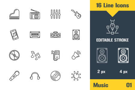 Studio Devices, Music Icons set. Thin line icon - Outline flat vector illustration. Editable stroke pictogram.