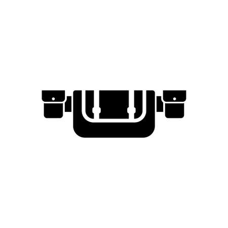 Hunting Belt, Waist Bag, Travel Molle. Flat Vector Icon illustration. Simple black symbol on white background. Hunting Belt, Waist Bag, Travel Molle sign design template for web and mobile UI element