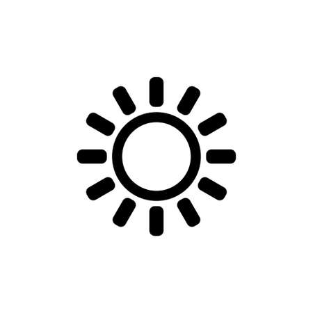 Brightness, Intensity Setting, Bright Sun. Flat Vector Icon illustration. Simple black symbol on white background. Brightness, Intensity Setting, Sun sign design template for web and mobile UI element Çizim