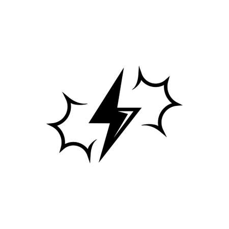 Thunder and lightning, Thunderbolt Flash. Flat Vector Icon illustration. Simple black symbol on white background. Thunder and lightning, Thunderbolt sign design template for web and mobile UI element