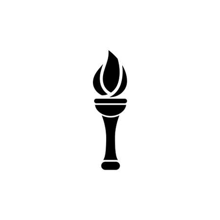 Flaming Torch  Ceremonial Fire. Flat Vector Icon illustration. Simple black symbol on white background. Çizim