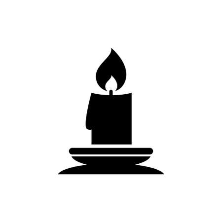 Christmas Lit Candle and Candlestick Holder. Flat Vector Icon illustration. Simple black symbol on white background.