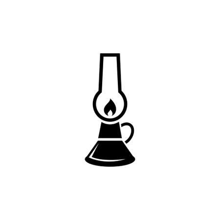 Oil Lamp, Camping Kerosene Gas Lantern. Flat Vector Icon illustration. Simple black symbol on white background. Kerosene Lamp, Camping Gas Lantern sign design template for web and mobile UI element Çizim