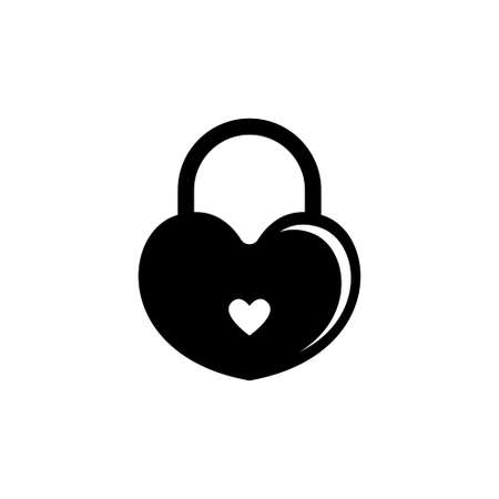 Amour Heart Lock, Love Wedding Padlock. Flat Vector Icon illustration. Simple black symbol on white background. Heart Lock, Love Wedding Padlock sign design template for web and mobile UI element