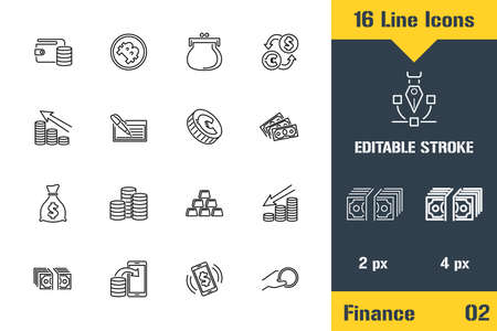 Money, Finance, Payments Icons set. Thin line icon - Outline flat vector illustration. Editable stroke pictogram. Çizim