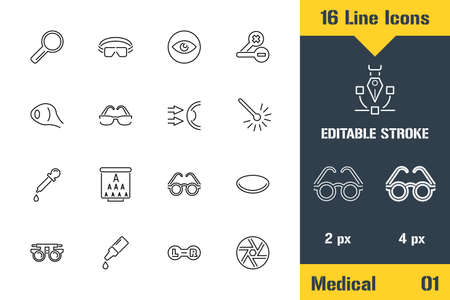 Medical Ophthalmology, Eyes Health. Thin line icon - Outline flat vector illustration. Editable stroke pictogram.