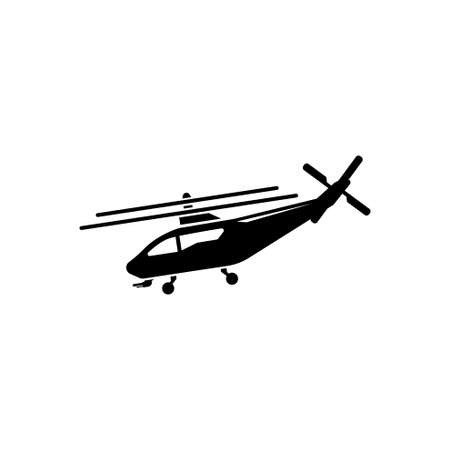 Helicopter, Fly Transport, Aviation. Flat Vector Icon illustration. Simple black symbol on white background. Helicopter, Fly Transport, Aviation sign design template for web and mobile UI element Çizim