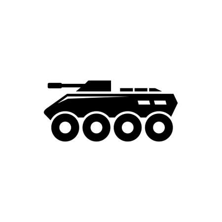 Military BTR, Armored Personnel Carrier. Flat Vector Icon illustration. Simple black symbol on white background. BTR, Armored Personnel Carrier sign design template for web and mobile UI element Çizim