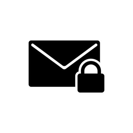 Secure Letter Lock, Protection Mail. Flat Vector Icon illustration. Simple black symbol on white background. Secure Letter Lock, Protection Mail sign design template for web and mobile UI element Çizim