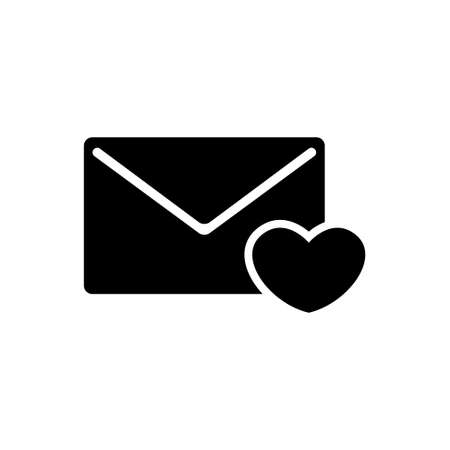 Love Letter, Valentine Message with Heart. Flat Vector Icon illustration. Simple black symbol on white background. Love Letter, Valentine Message sign design template for web and mobile UI element Çizim