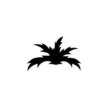 Fern and Monstera Bush, Tropical Plant. Flat Vector Icon illustration. Simple black symbol on white background. Fern and Monstera, Tropical Plant sign design template for web and mobile UI element