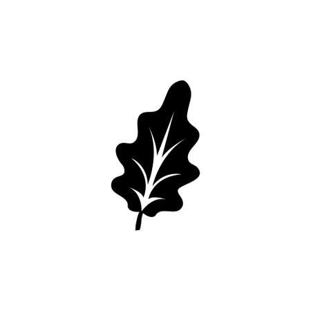 Oak Leaf Silhouette, Forest Plant Tree. Flat Vector Icon illustration. Simple black symbol on white background. Oak Leaf Silhouette Forest Plant Tree sign design template for web and mobile UI element Çizim