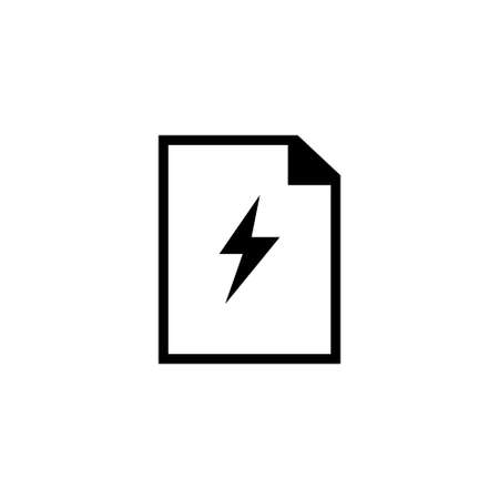 Electronic Flash Document, File and Lighting Bolt. Flat Vector Icon illustration. Simple black symbol on white background. Electronic Flash Document sign design template for web and mobile UI element