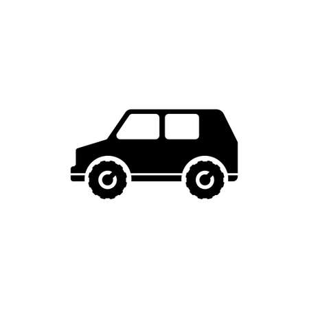 Suv Car, 4x4 vehicle, Travel Transport. Flat Vector Icon illustration. Simple black symbol on white background. Suv Car 4x4 vehicle Travel Transport sign design template for web and mobile UI element