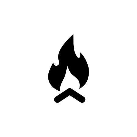 Wooden Camp Fire, Bonfire, Campfire. Flat Vector Icon illustration. Simple black symbol on white background. Wooden Camp Fire, Bonfire, Campfire sign design template for web and mobile UI element