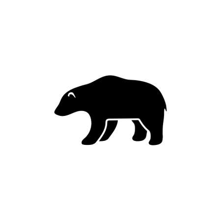 Grizzly or Polar Bear, Kodiak Silhouette. Flat Vector Icon illustration. Simple black symbol on white background. Grizzly or Polar Bear, Kodiak sign design template for web and mobile UI element Çizim