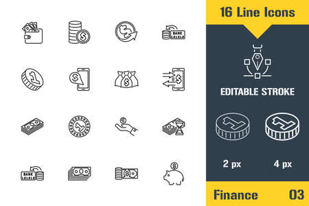 Banking, Finance, Money Icons set. Thin line icon - Outline flat vector illustration. Editable stroke pictogram. Premium quality graphics concept for web, logo, branding, ui, ux design, infographics. Çizim