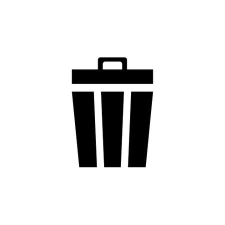 Trash Can, Disposal Waste, Recycle Bin. Flat Vector Icon illustration. Simple black symbol on white background. Trash Can, Disposal Waste, Recycle sign design template for web and mobile UI element Çizim
