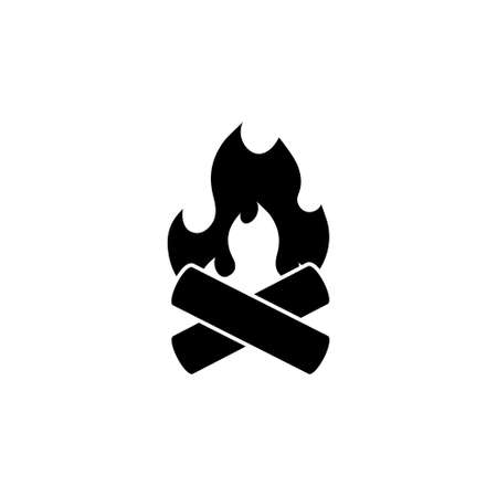 Bonfire, Camp flame, Campfire, Firewood. Flat Vector Icon illustration. Simple black symbol on white background. Bonfire, Camp flame, Campfire, Fire sign design template for web and mobile UI element Çizim