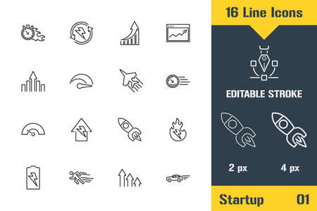 Business Startup Strategy, Workflow. Thin line icon - Outline flat vector illustration. Editable stroke pictogram. Premium quality graphics concept for web, logo, branding, ui, ux design, infographics