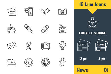 News Distribution, Media, Ads. Thin line icon - Outline flat vector illustration. Editable stroke pictogram. Premium quality graphics concept for web,  branding, ui, ux design, infographics.