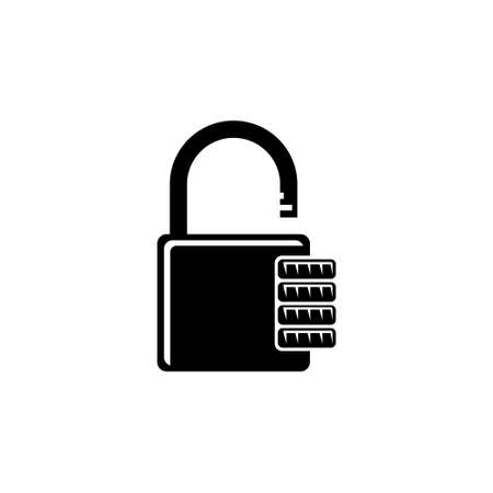 Combination Padlock, Password Code Lock. Flat Vector Icon illustration. Simple black symbol on white background. Combination Padlock, Password Lock sign design template for web and mobile UI element