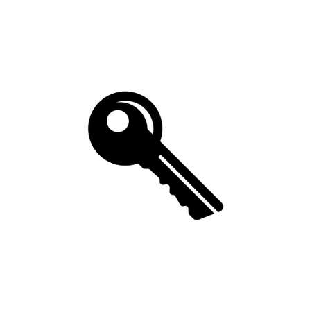 Key Silhouette, Safety Tool, Protection. Flat Vector Icon illustration. Simple black symbol on white background. Key Silhouette, Safety, Protection sign design template for web and mobile UI element