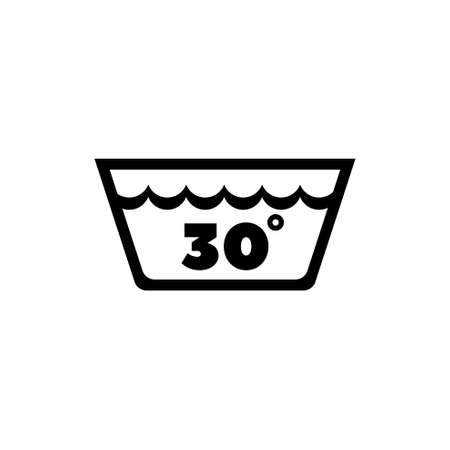 Delicate Gentle Thirty Degrees Washing Laundry. Flat Vector Icon illustration. Simple black symbol on white background. Delicate Washing Laundry sign design template for web and mobile UI element